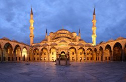 Panoramic view of the courtyard of the Blue Mosque, in Istanbul, Turkey.