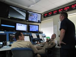 Drone agents during a live mission at the operations center in Corpus Christi...