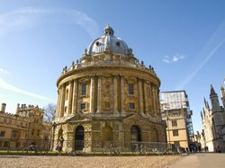 The Radcliffe Camera is a distinctive, circular-shaped building in Oxford, En...