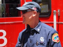 San Diego firefighter on July Fourth.