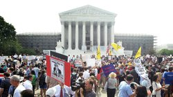 The scene outside the U.S. Supreme Court on Thursday, when the justices relea...