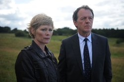 Clare Holman as Dr. Laura Hobson and Kevin Whately as Inspector Lewis.
