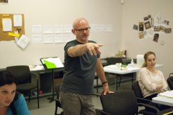 """Michael Wilson (""""Dividing the Estate"""", """"Gore Vidal's The Best Man"""") in the Old Globe's rehearsal hall where he's directing """"Divine Rivalry."""""""