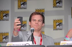 Michael C. Hall takes a picture of the crowd at last year's Comic-Con