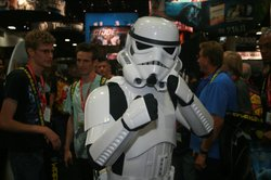 A Stormtrooper poses at Comic-Con.