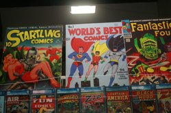 A display of vintage comic books.