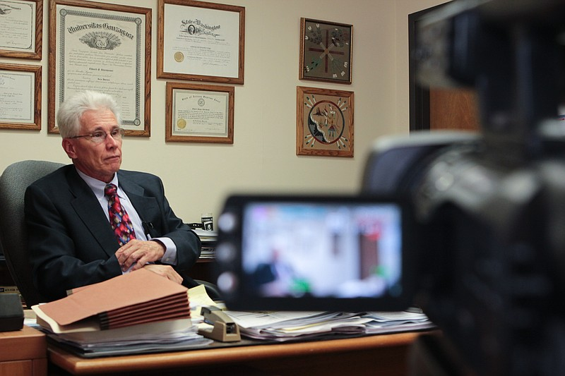 Cochise County Attorney Ed Rheinheimer sits down for an interview on Tuesday,...