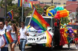 The Lesbian, Gay, Bisexual and Transgender Pride parade in Hillcrest. Shot Ju...