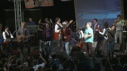 Cuban musicians perform on stage for a concert in Havana.