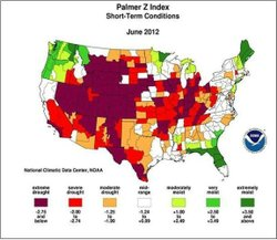 The redder the area, the worst the drought.