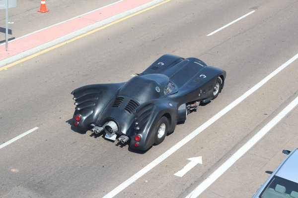 The Batmobile cruising Harbor Drive.