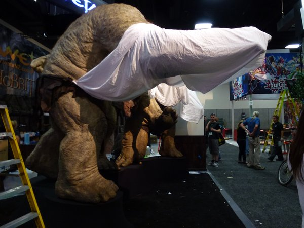 Having a booth means I get to see the floor before everything's unveiled. Trolls under the sheets were fun.