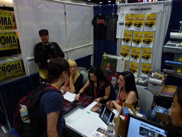 The Film School Confidential booth when Jen and Sylvia Soska were signing autographs.