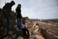 Thomas, Tamara and Gabby on top of the Mesa.