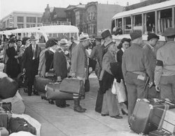 Japanese-American evacuees; San Francisco, April 6, 1942.