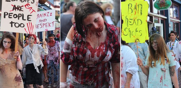 The San Diego Zombie Walk protested for zombie rights.
