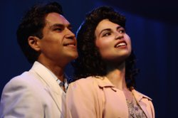 "Actor Lakin Valdez as Henry Reyna and actress Maya Malan-Gonzalez as Della Barrios in ""Zoot Suit"" at the San Diego Rep."