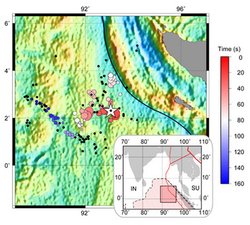 The colored circles on the large map indicate the complex spatial rupture pattern as a function of time during the Sumatra earthquake in April 2012. The white star indicates the epicenter of the magnitude-8.6 mainshock. The area shaded in darker red in the inset indicates the location of the area of study.
