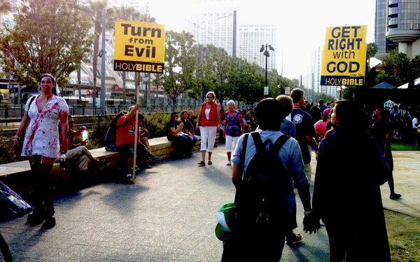 Protesters at Comic-Con last month.
