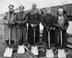 African American women work on the B & O Railroad, 1943.
