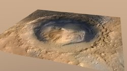 'Mount Sharp' Inside Gale Crater, Mars.  This is the landing site for the Rover Curiosity.