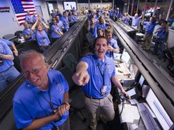 NASA/JPL ground controllers react to learning the the Curiosity rover had lan...