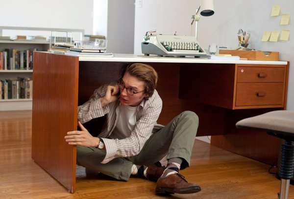 "Paul Dano as an author terrified by what he's created in ""Ruby Sparks."""