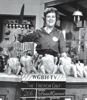 Julia Child is credited with introducing French cooking techniques to mainstream America in THE FRENCH CHEF, which began in 1963. Here, she lines up chickens of various sizes.