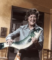 Julia Child is credited with introducing French cooking techniques to mainstream America in THE FRENCH CHEF, which began in 1963. Here, she prepares fish.