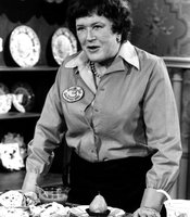 Julia Child is credited with introducing French cooking techniques to mainstream America in THE FRENCH CHEF, which began in 1963. Here, she displays a perfectly poached pear.