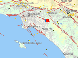 This USGS map shows the size and location of an earthquake that shook Souther...