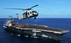 Seahawk helicopter assigned to the Golden Falcons of Helicopter Sea Combat Sq...