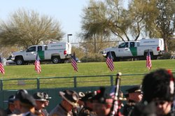 The U.S. Border Patrol honor guard plays Amazing Grace during the memorial ce...