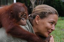 Lone Droscher Nielsen, the Borneo Orangutan Survival Foundation Centre's director, with an orangutan on her back.