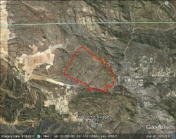 A map of the Chihuahua Fire In Warner Springs.