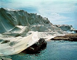 Jeanne-Claude and Christo, Wrapped Coast-One Million Square Feet, 1968-96, collages, photographs, model film, photograph. Collection of the artist.