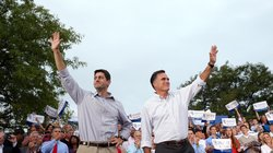 Republican presidential candidate Mitt Romney (right) and running mate Rep. P...