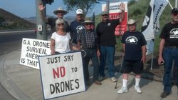 Veterans for Peace demonstrate against using drones for domestic surveillance...