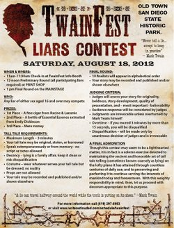 The rules for TwainFest's first Liars Contest taking place this Saturday afternoon in Old Town San Diego State Historic Park.