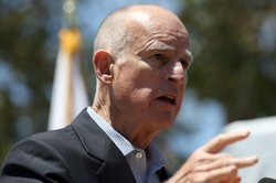 California Governor Jerry Brown speaks during a news conference at the Port o...