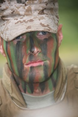 Soldier in face paint