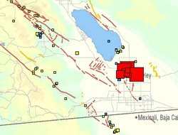 This USGS map shows the size and location of several moderate earthquakes that shook near Imperial Valley on Sunday, August 26, 2012.