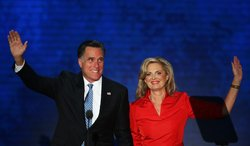 Republican presidential candidate, former Massachusetts Gov. Mitt Romney joins his wife, Ann Romney on stage during the Republican National Convention at the Tampa Bay Times Forum on August 28, 2012 in Tampa, Florida.