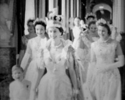 The Queen in the Principal Corridor at Buckingham Palace on Coronation Day, J...