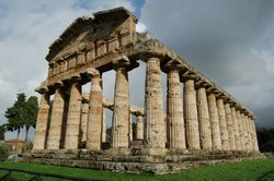 The Temple of Athena at the Graeco-Roman archaeological site of Paestum in It...