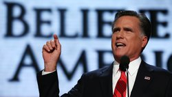 Republican presidential candidate, former Massachusetts Gov. Mitt Romney delivers his nomination acceptance speech during the final day of the Republican National Convention at the Tampa Bay Times Forum on August 30, 2012 in Tampa, Florida.
