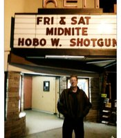 "My friend Michael Burgess at a Horror Meetup for ""Hobo With a Shotgun"" at the Ken's Midnight film series."