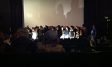 "Shadowcast screening of ""Rocky Horror"" at midnight."
