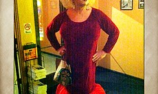 """Someone dressed as Divine for the midnight show of """"Pink Flamingoes."""""""