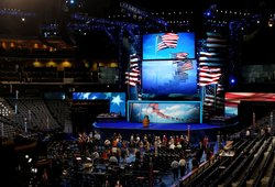 A view of the stage as workers continue to setup during preparations for the Democratic National Convention at Time Warner Cable Arena on September 3, 2012 in Charlotte, North Carolina.